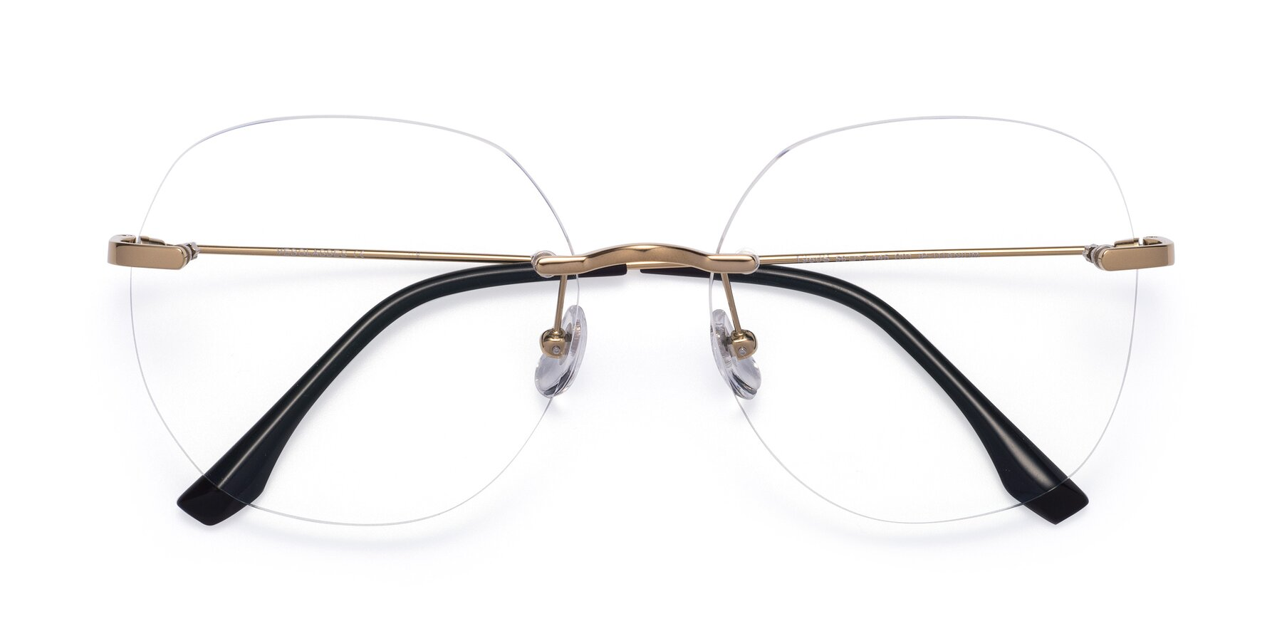 Folded Front of 1960S in Gold with Clear Blue Light Blocking Lenses