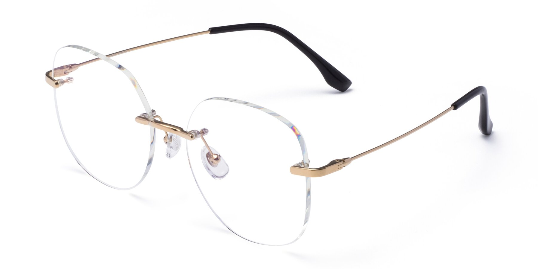 Angle of 1960S in Gold with Clear Blue Light Blocking Lenses