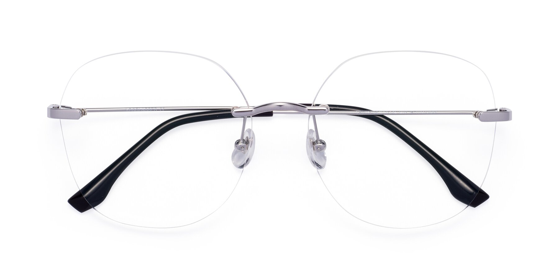 Folded Front of 1960S in Silver with Clear Eyeglass Lenses