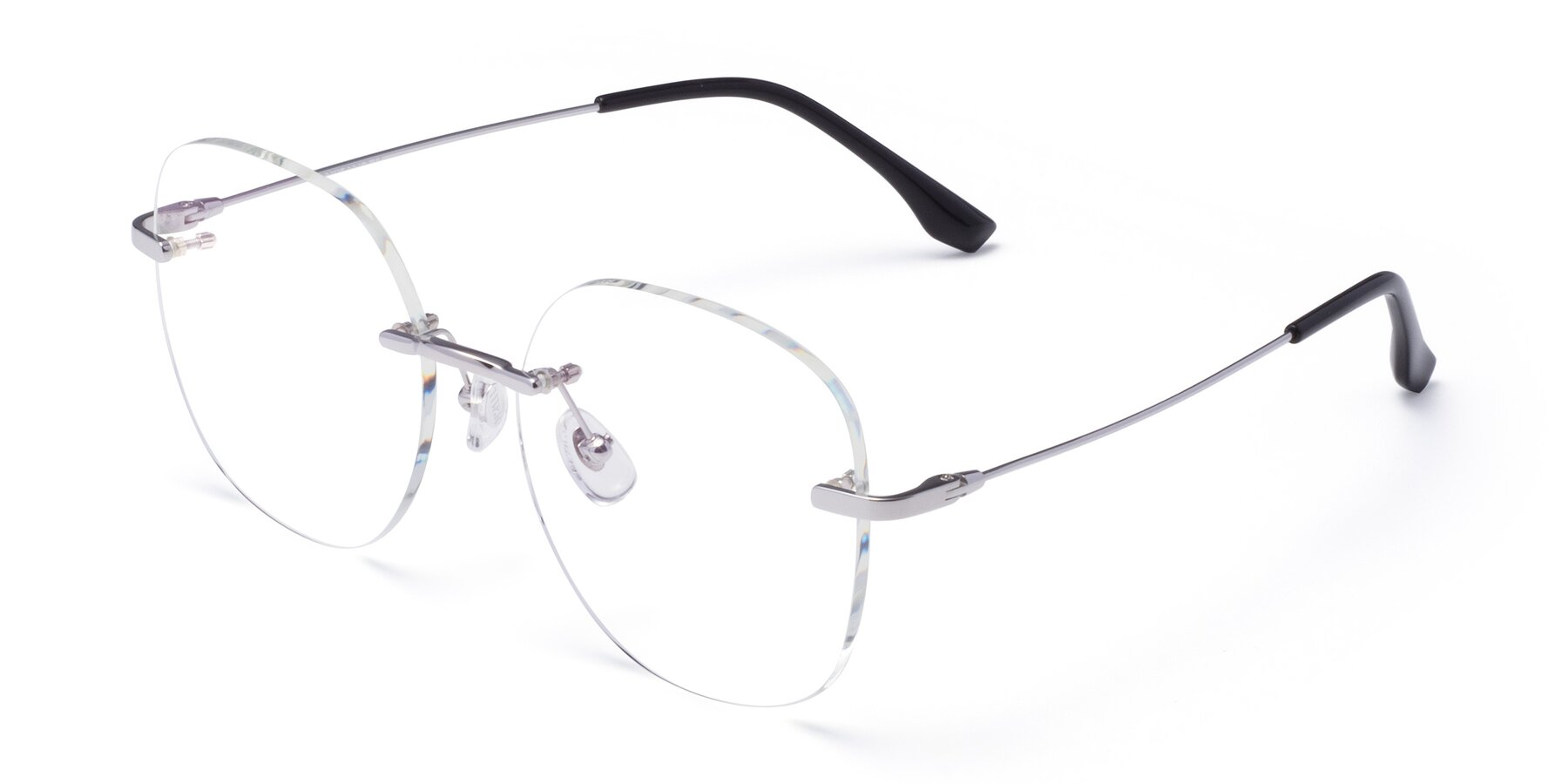 Angle of 1960S in Silver with Clear Eyeglass Lenses