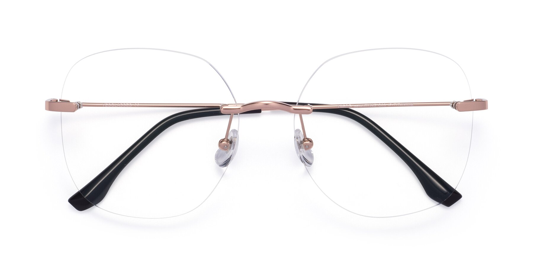 Folded Front of 1960S in Rose Gold with Clear Eyeglass Lenses