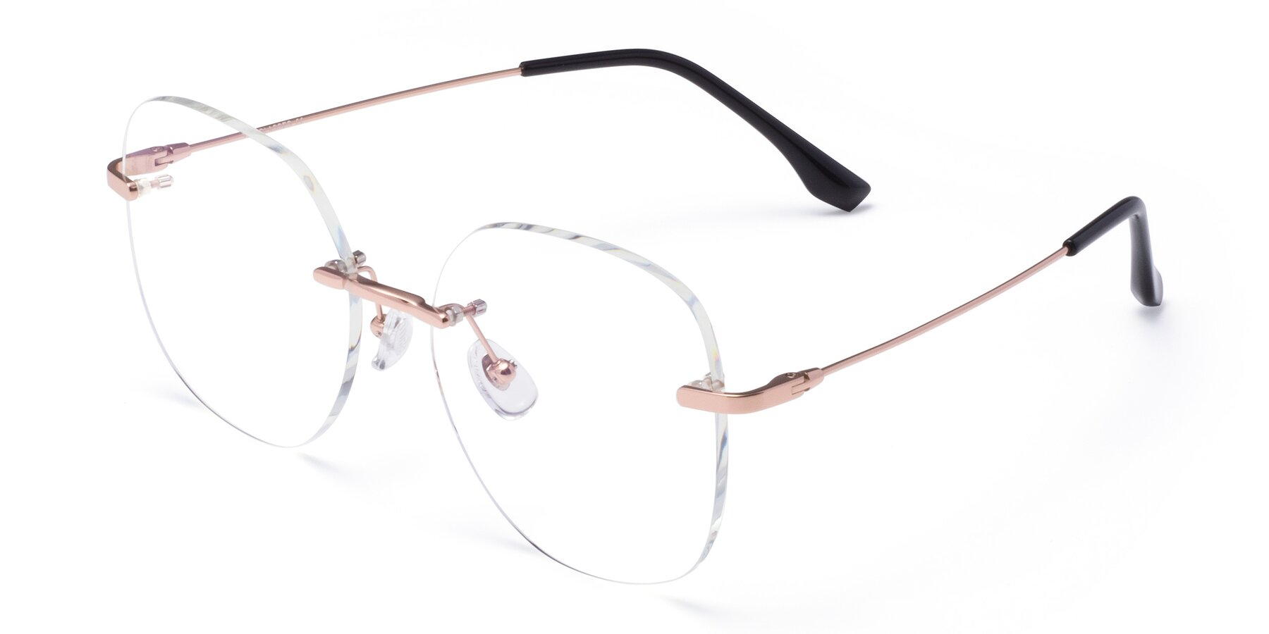 Angle of 1960S in Rose Gold with Clear Eyeglass Lenses