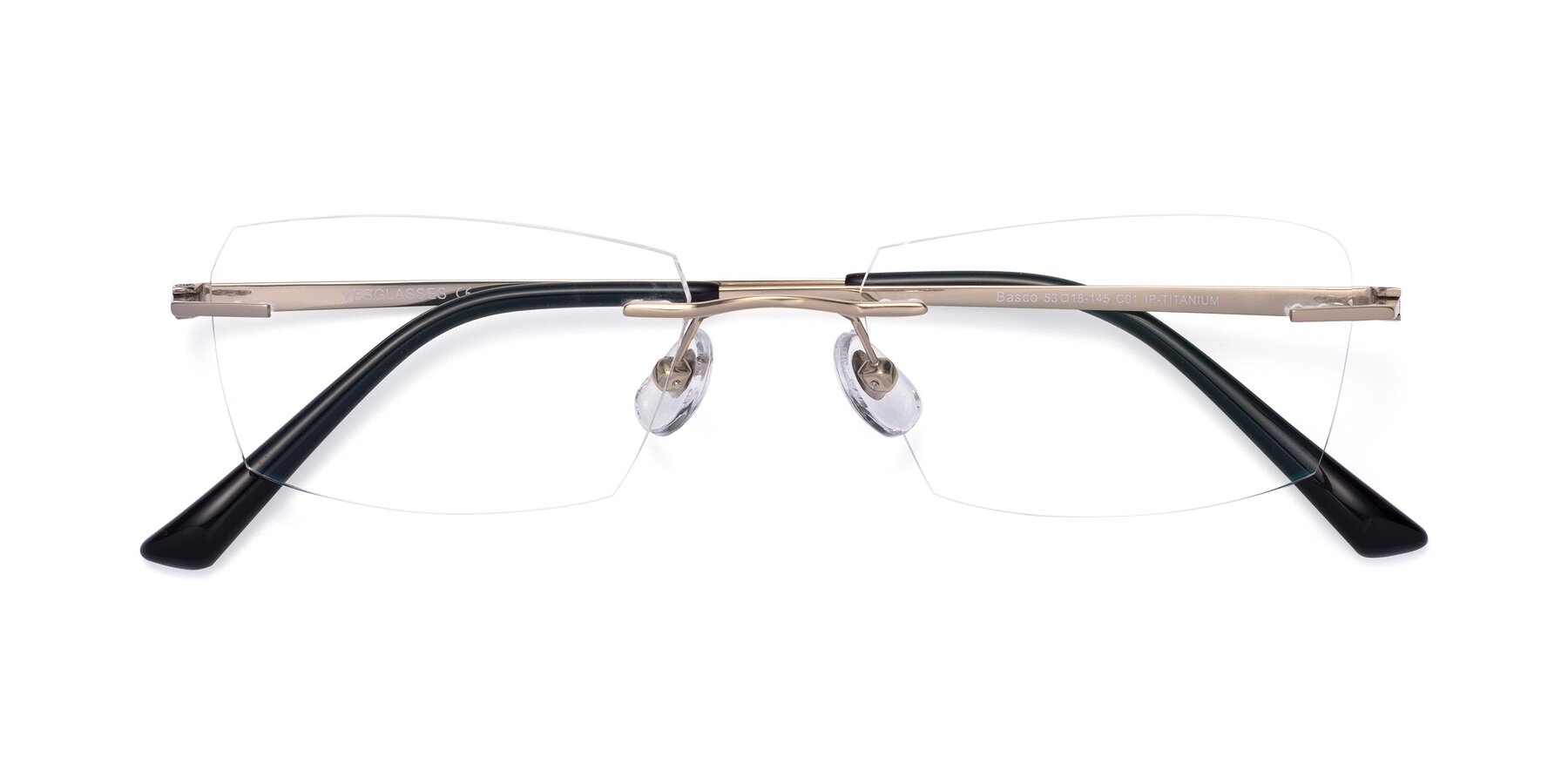Folded Front of Basco in Gold with Clear Eyeglass Lenses