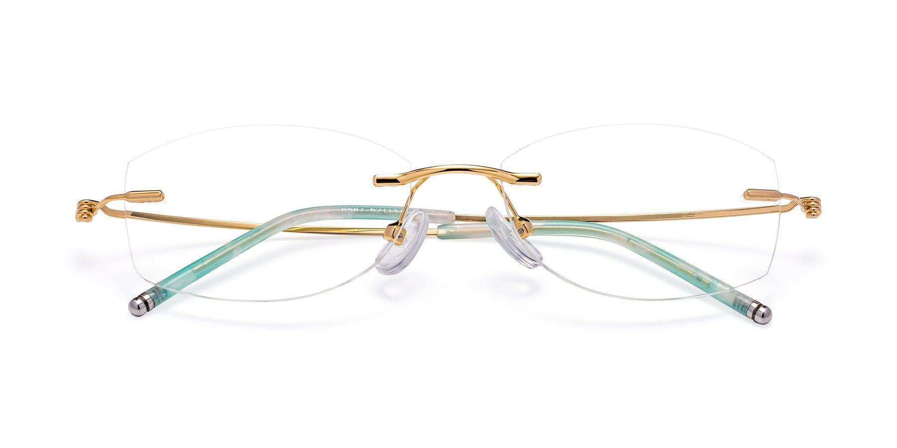 Folded Front of 8587A in Gold-Green with Clear Blue Light Blocking Lenses