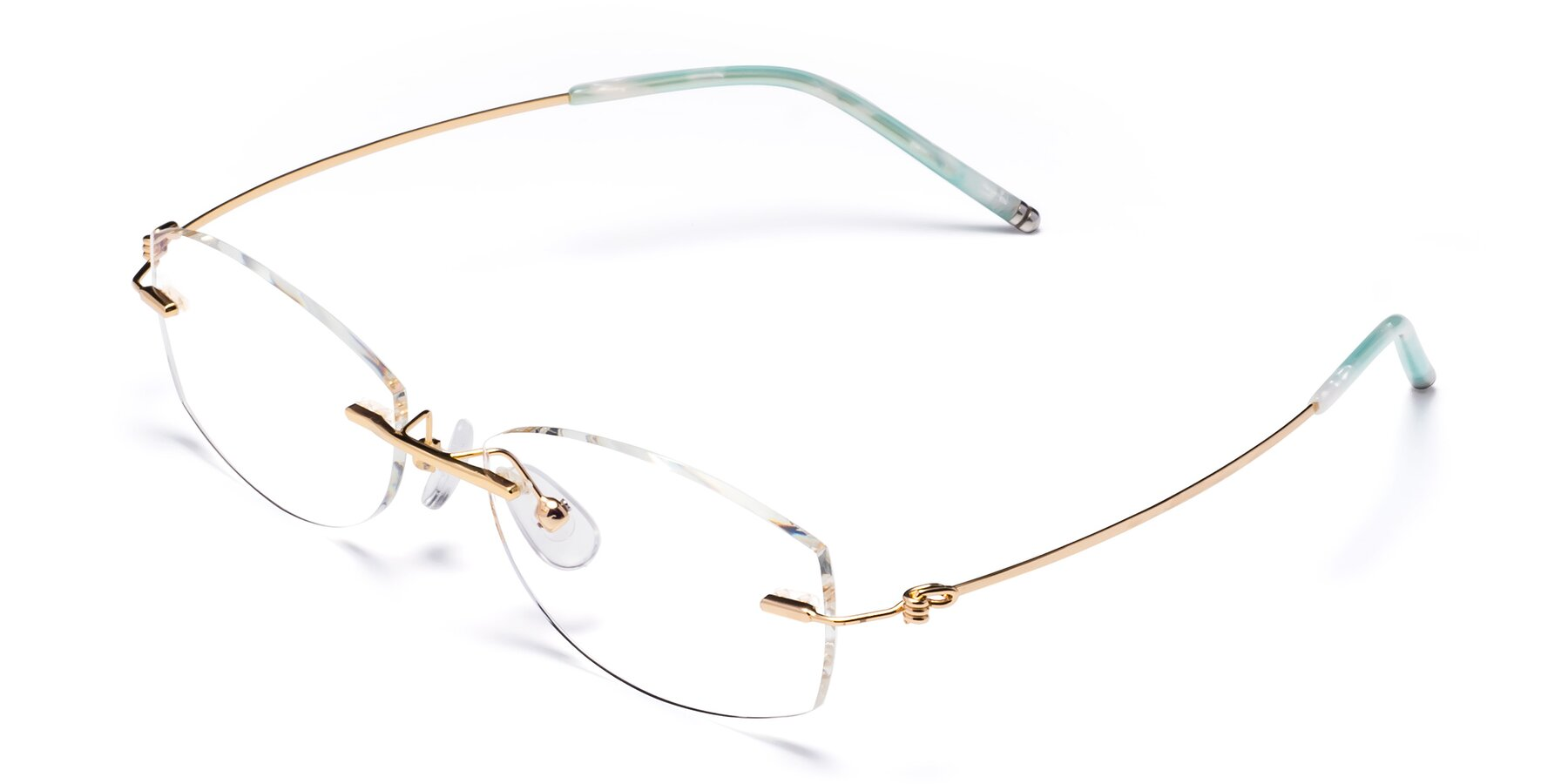 Angle of 8587A in Gold-Green with Clear Blue Light Blocking Lenses