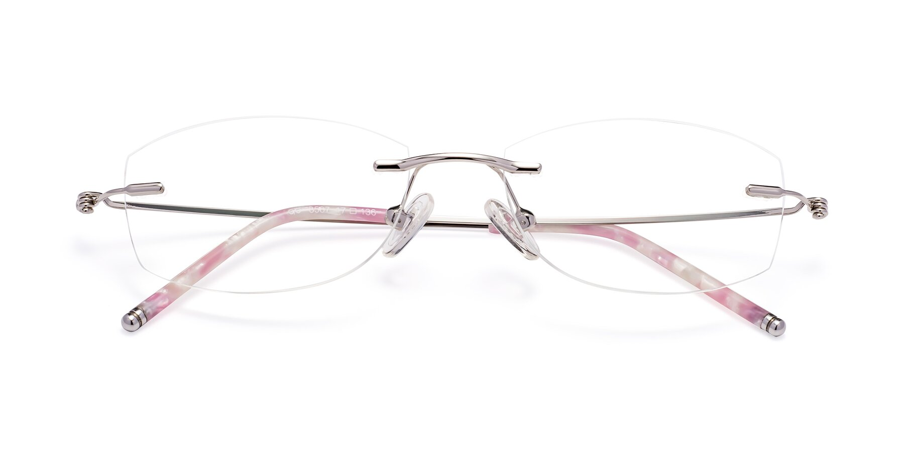 Folded Front of 8587A in Silver-Pink with Clear Eyeglass Lenses