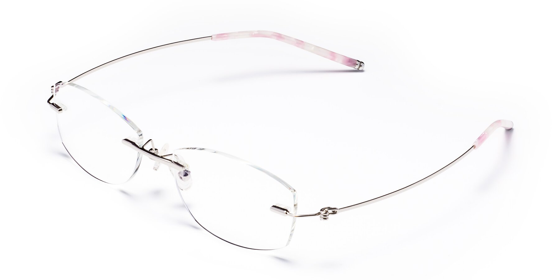 Angle of 8587A in Silver-Pink with Clear Eyeglass Lenses