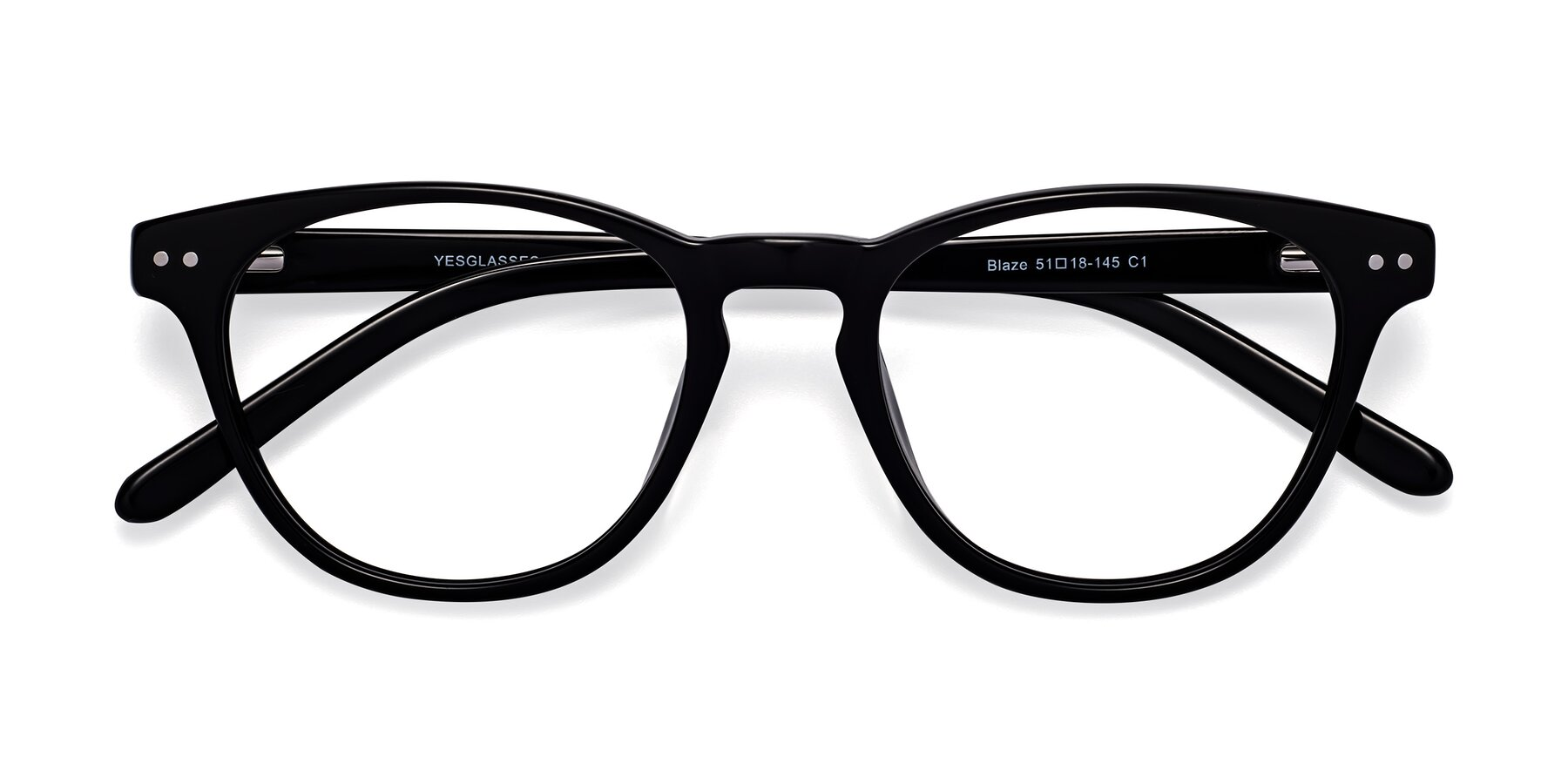 Folded Front of Blaze in Black with Clear Eyeglass Lenses