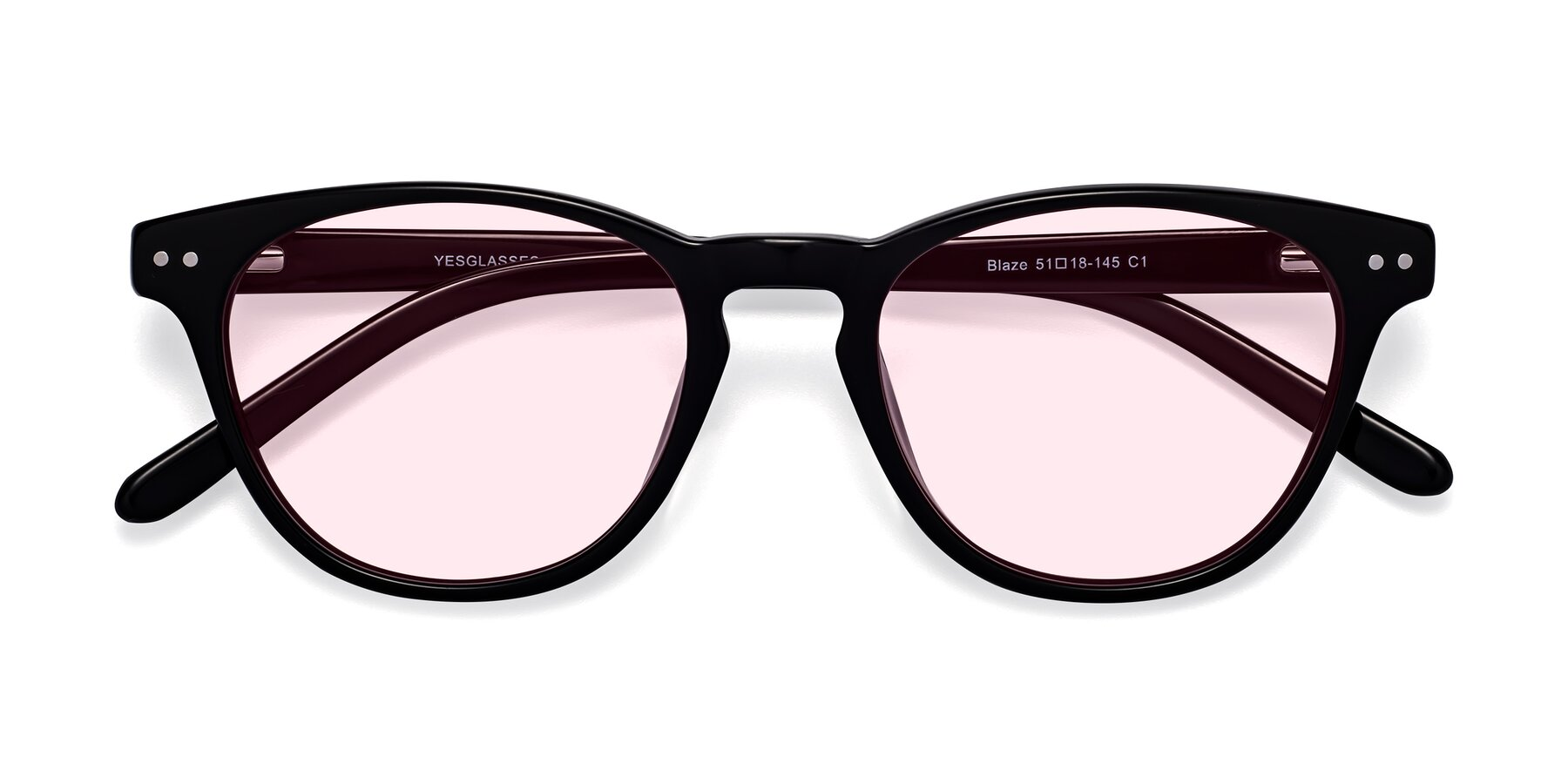 Folded Front of Blaze in Black with Light Pink Tinted Lenses