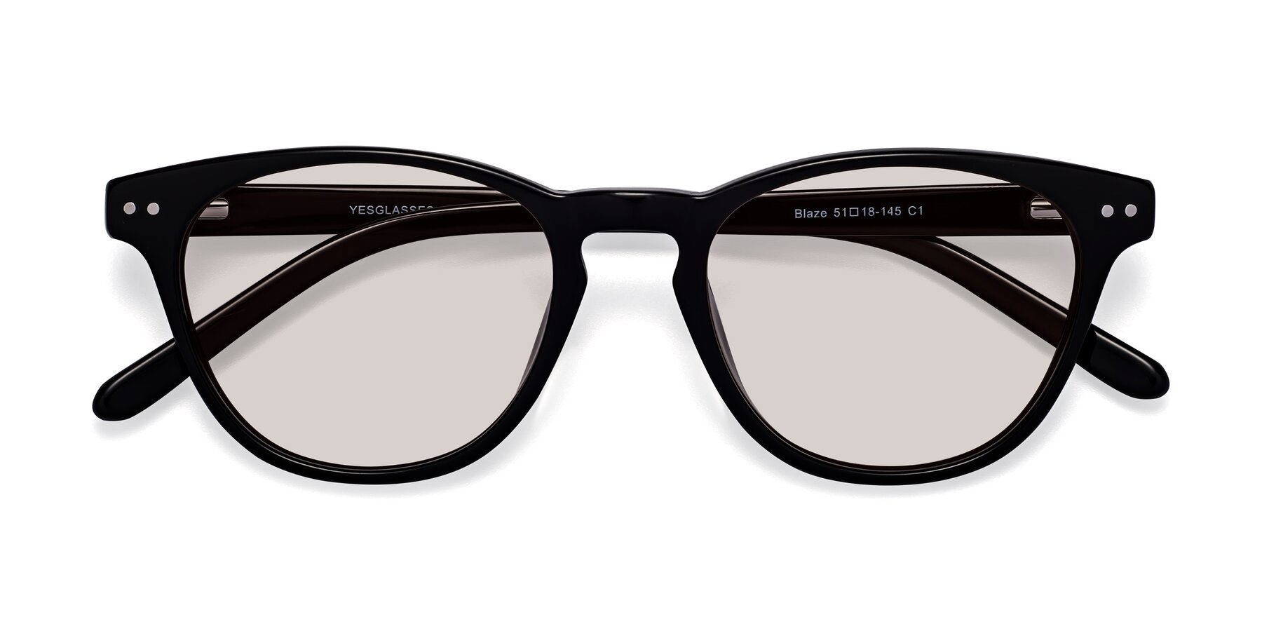 Folded Front of Blaze in Black with Light Brown Tinted Lenses