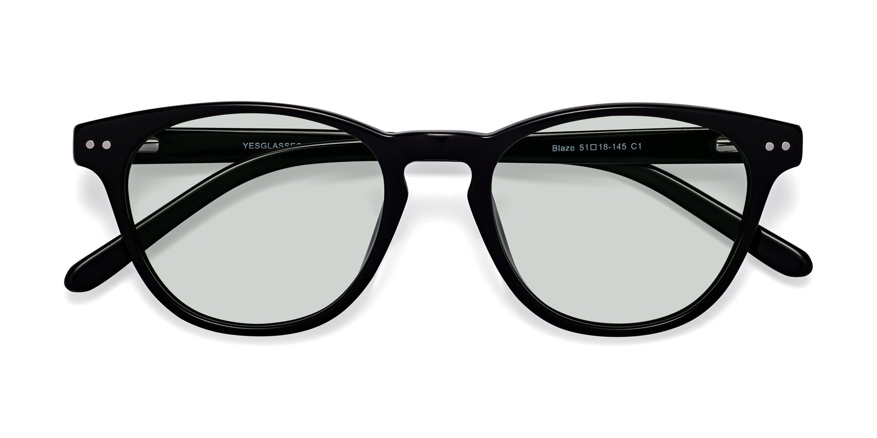 Folded Front of Blaze in Black with Light Green Tinted Lenses