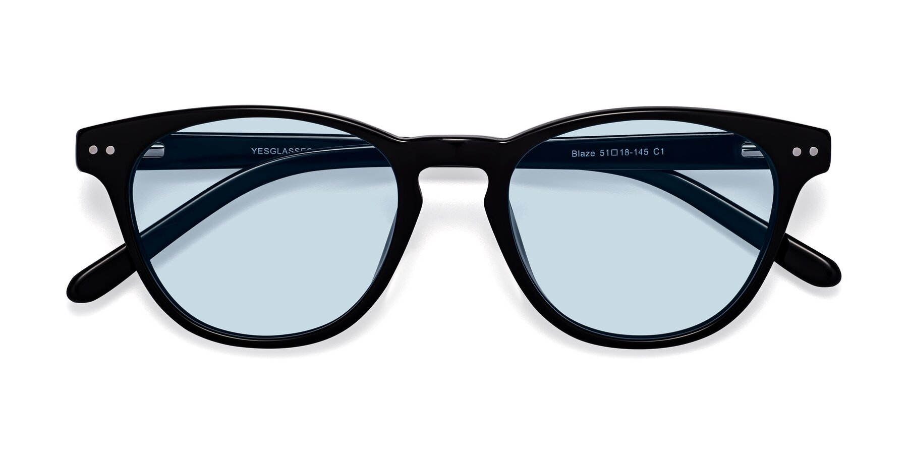Folded Front of Blaze in Black with Light Blue Tinted Lenses