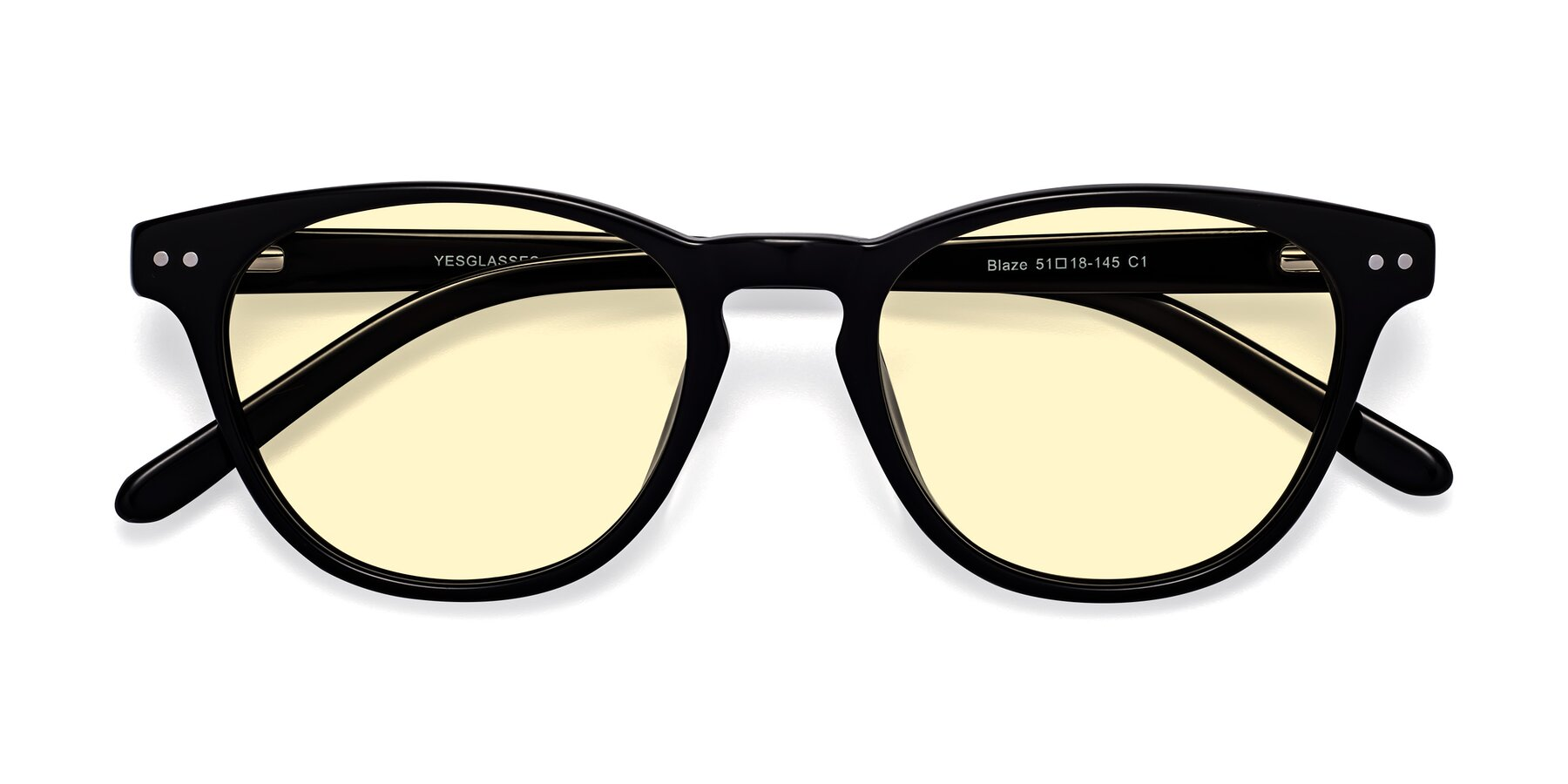 Folded Front of Blaze in Black with Light Yellow Tinted Lenses