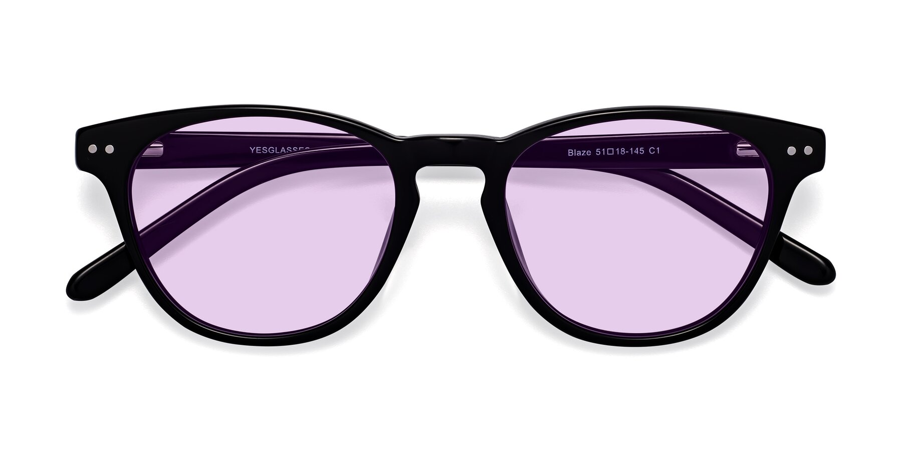 Folded Front of Blaze in Black with Light Purple Tinted Lenses