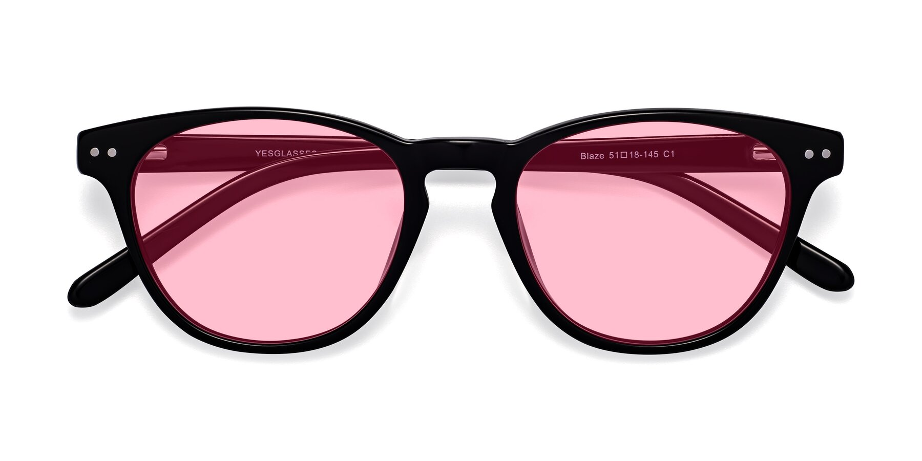 Folded Front of Blaze in Black with Medium Pink Tinted Lenses