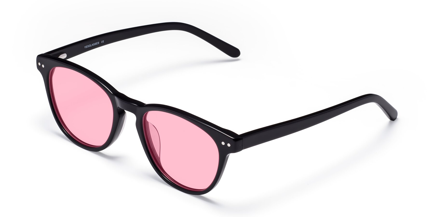 Angle of Blaze in Black with Medium Pink Tinted Lenses