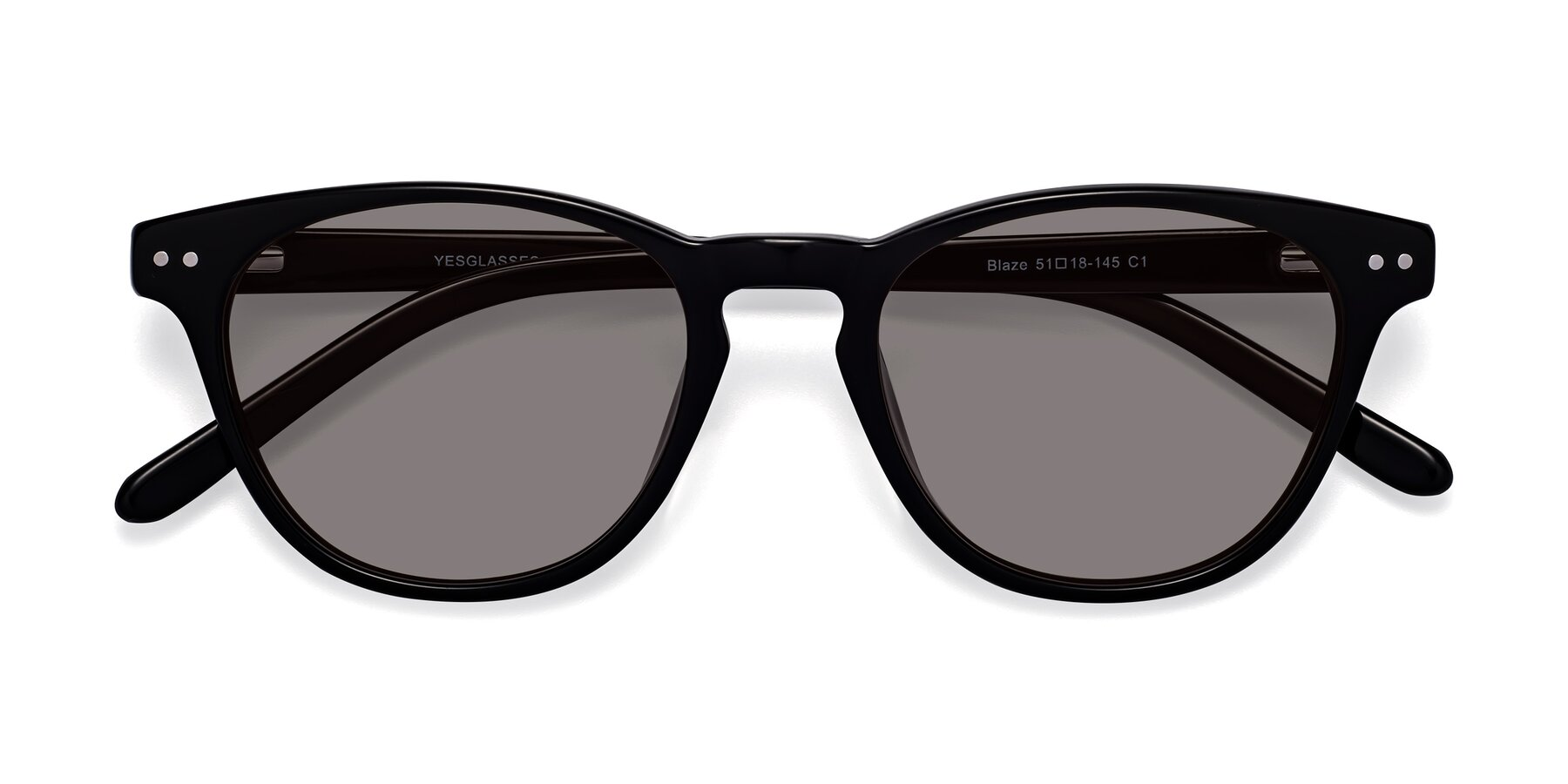 Folded Front of Blaze in Black with Medium Gray Tinted Lenses