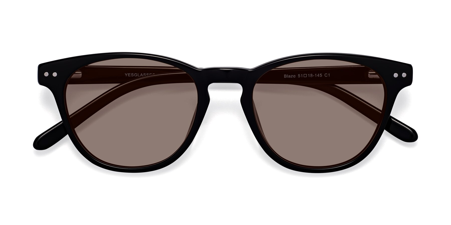 Folded Front of Blaze in Black with Medium Brown Tinted Lenses