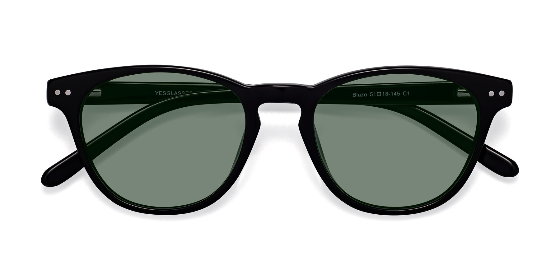 Folded Front of Blaze in Black with Medium Green Tinted Lenses