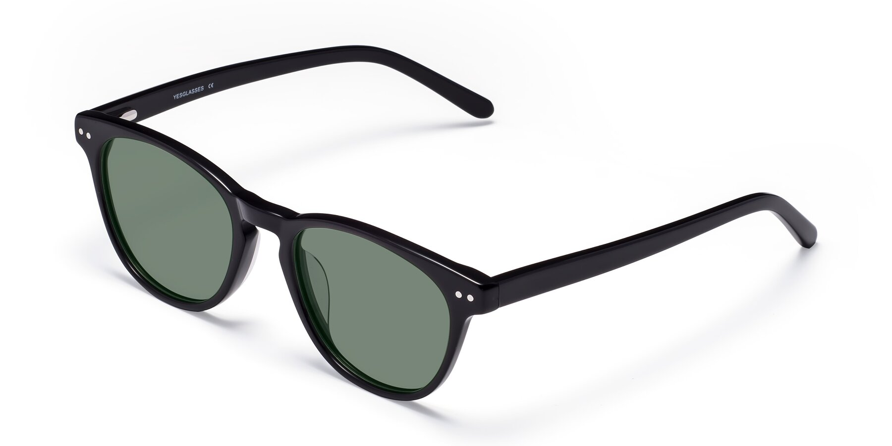 Angle of Blaze in Black with Medium Green Tinted Lenses