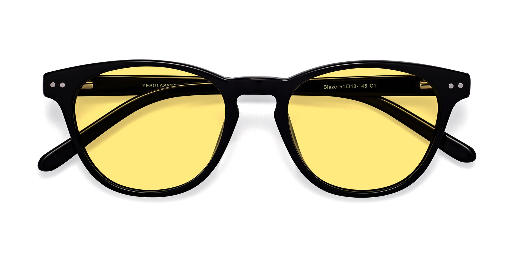 Folded Front of Blaze in Black with Medium Yellow Tinted Lenses