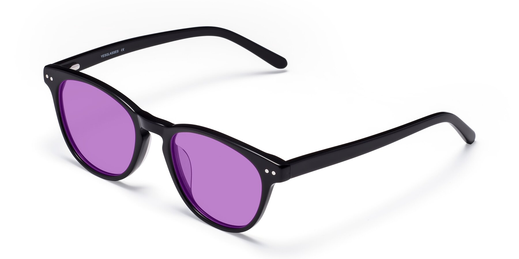 Angle of Blaze in Black with Medium Purple Tinted Lenses