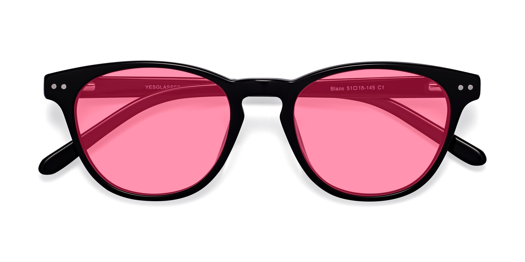 Folded Front of Blaze in Black with Pink Tinted Lenses