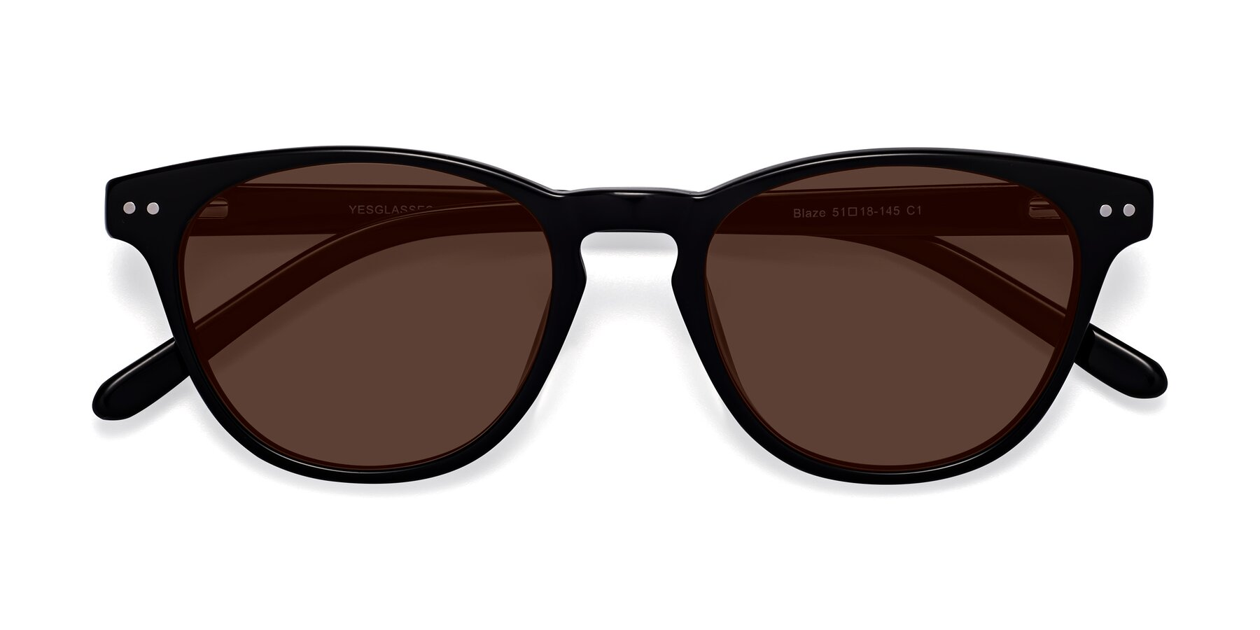 Folded Front of Blaze in Black with Brown Tinted Lenses