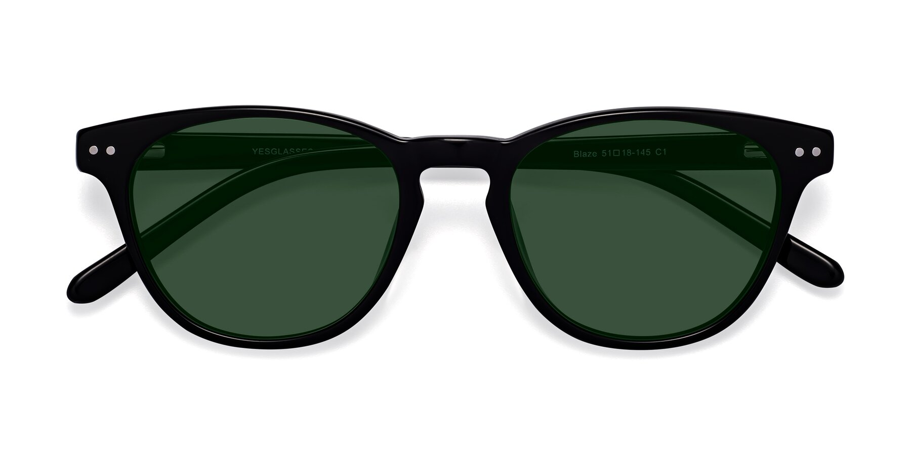 Folded Front of Blaze in Black with Green Tinted Lenses