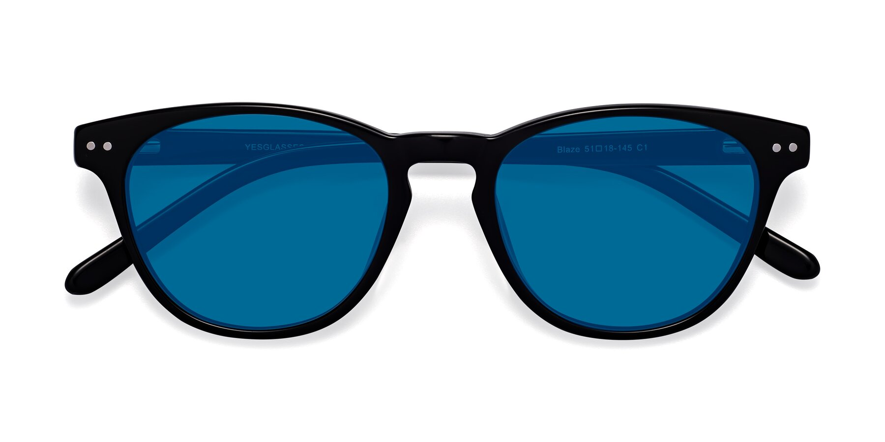 Folded Front of Blaze in Black with Blue Tinted Lenses