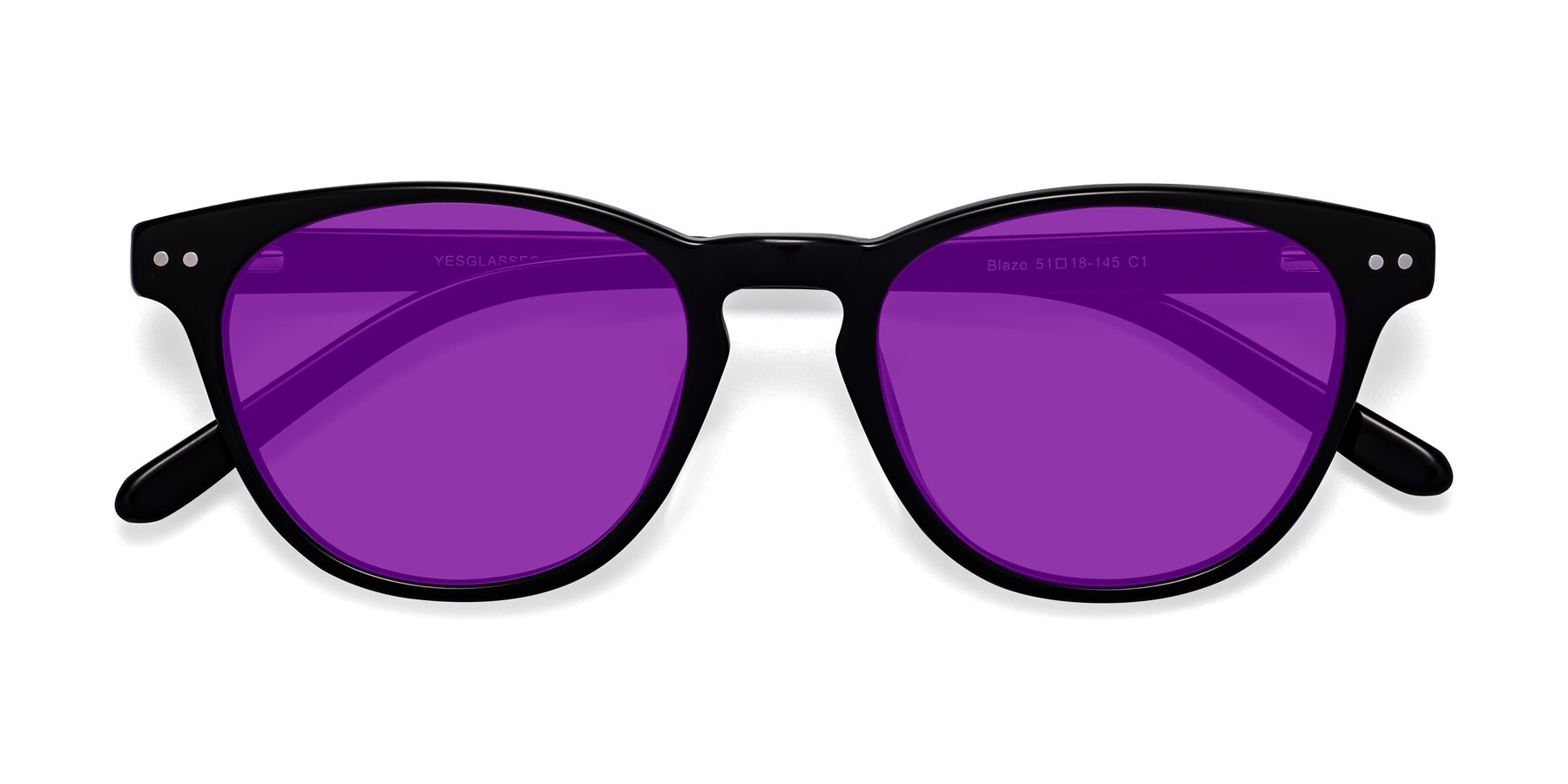 Folded Front of Blaze in Black with Purple Tinted Lenses