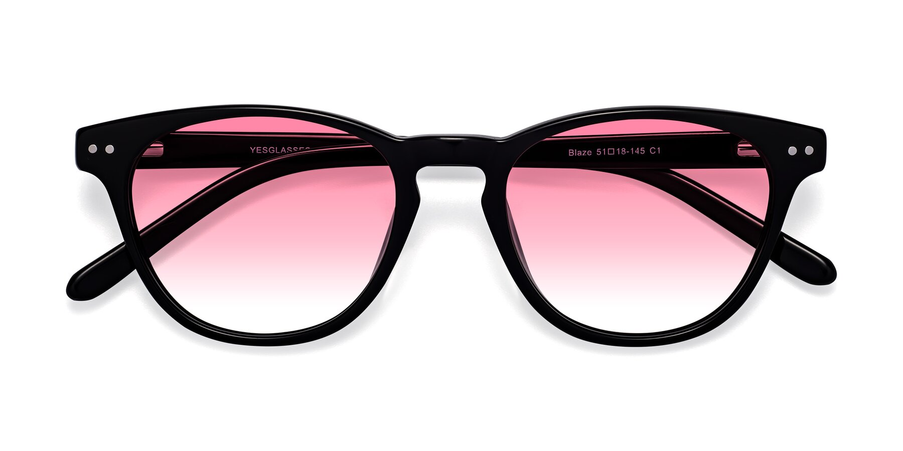 Folded Front of Blaze in Black with Pink Gradient Lenses