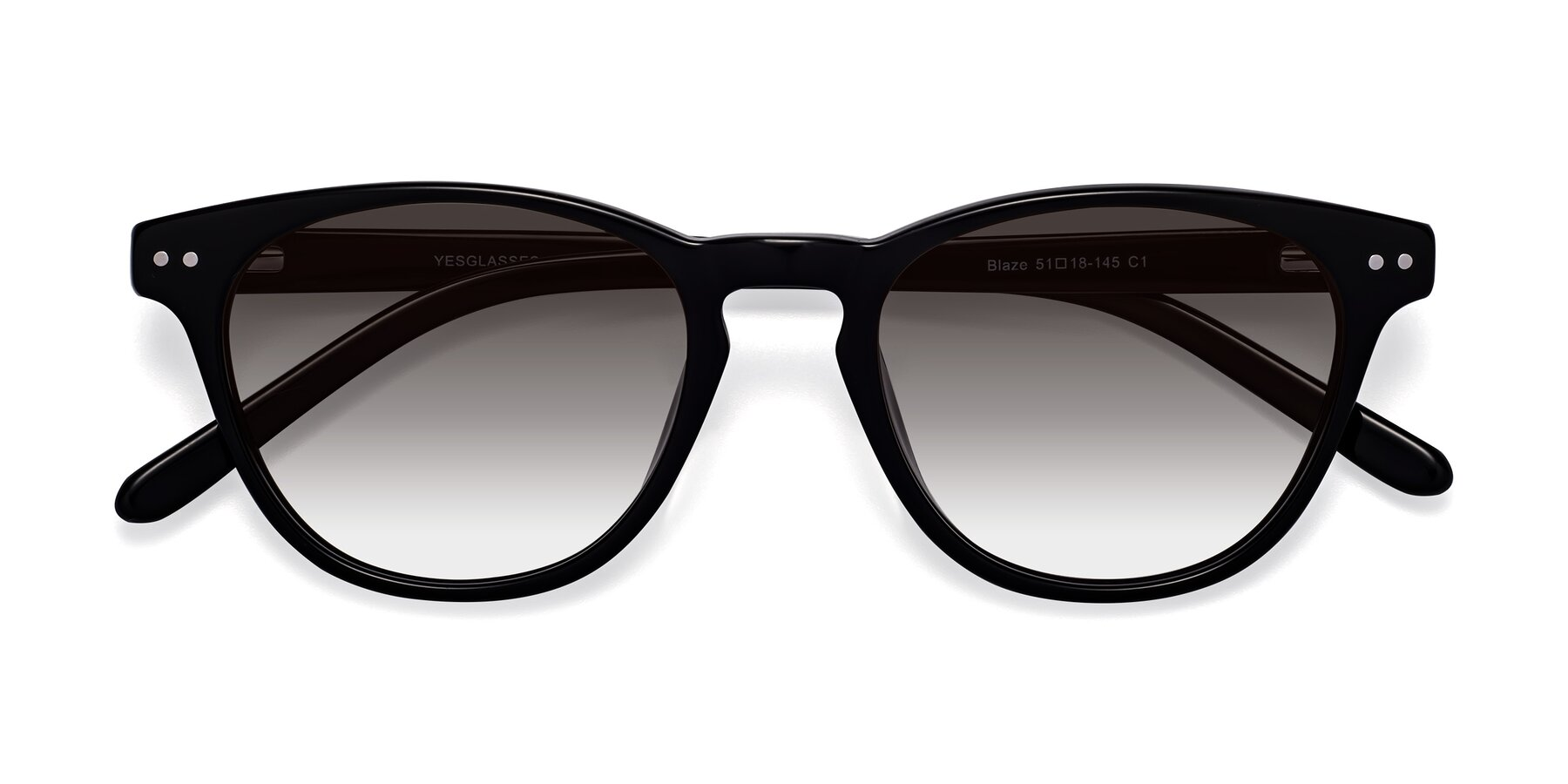 Folded Front of Blaze in Black with Gray Gradient Lenses