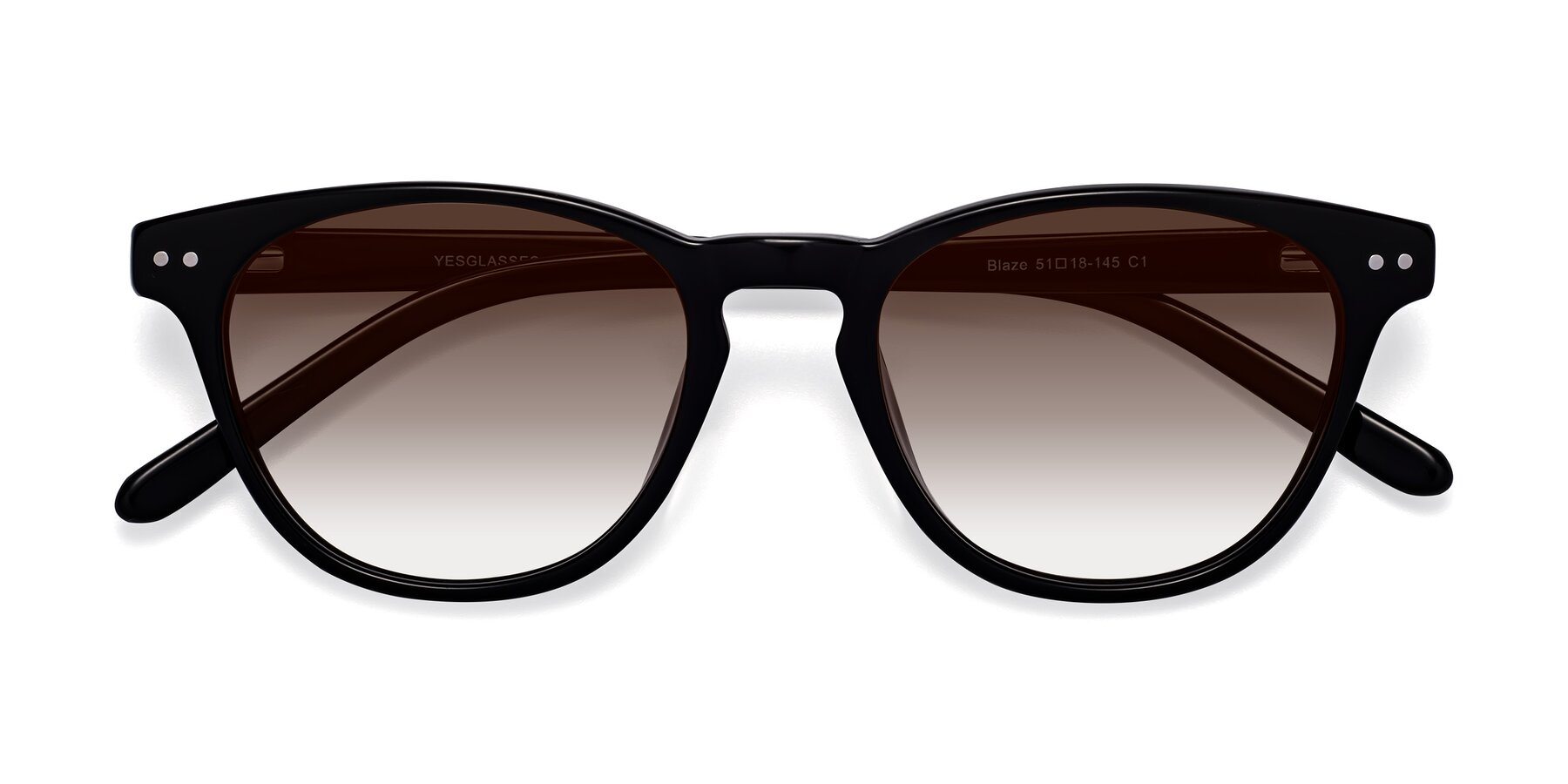 Folded Front of Blaze in Black with Brown Gradient Lenses