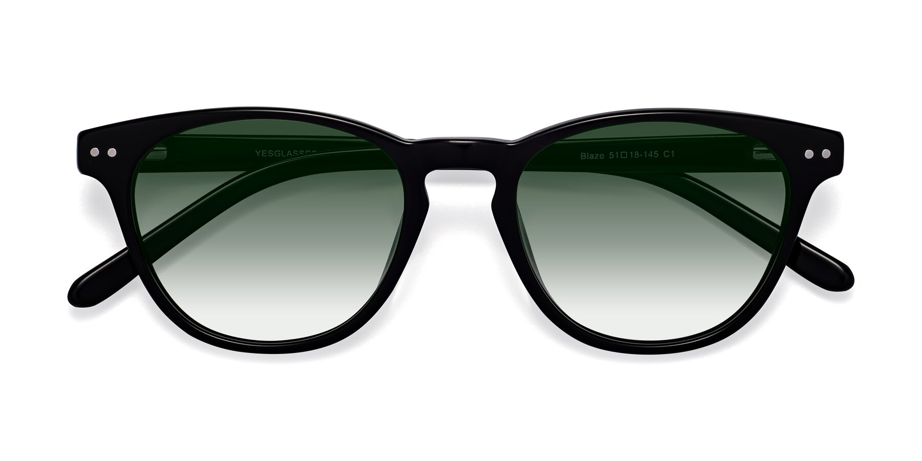 Folded Front of Blaze in Black with Green Gradient Lenses