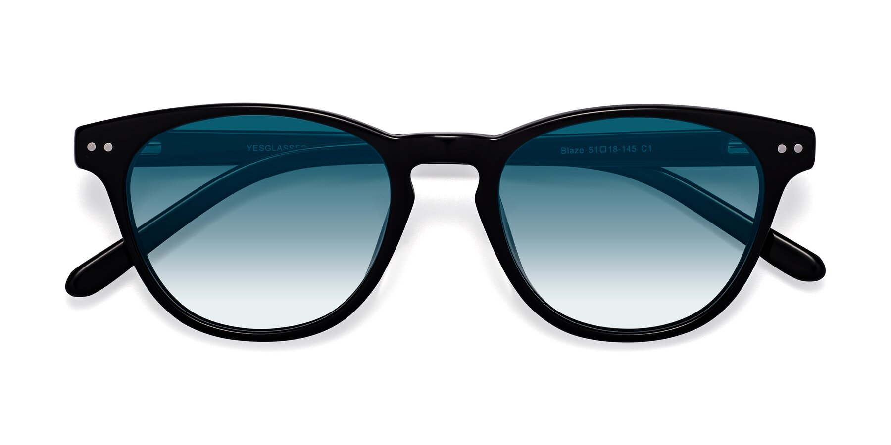 Folded Front of Blaze in Black with Blue Gradient Lenses