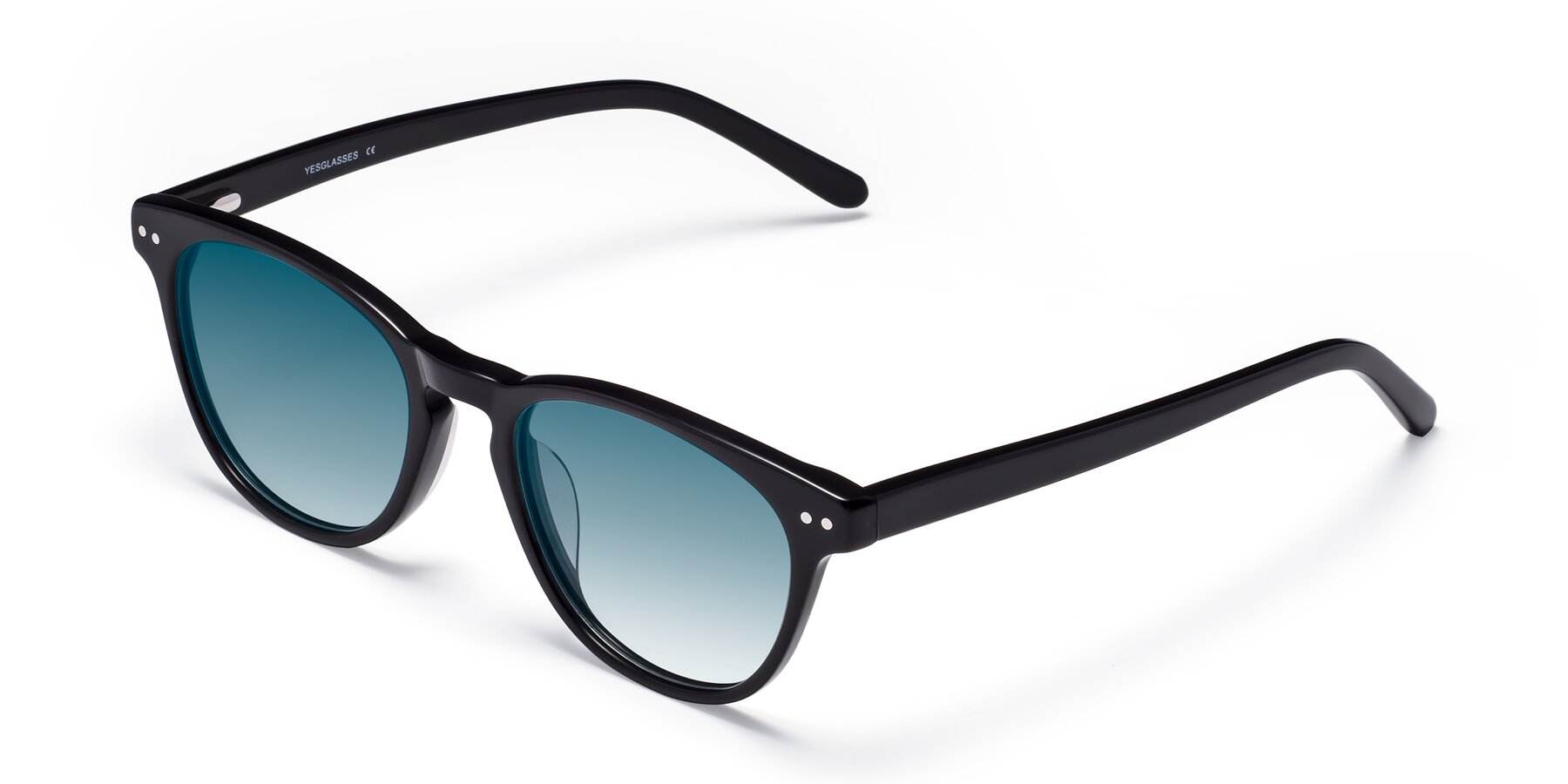 Angle of Blaze in Black with Blue Gradient Lenses