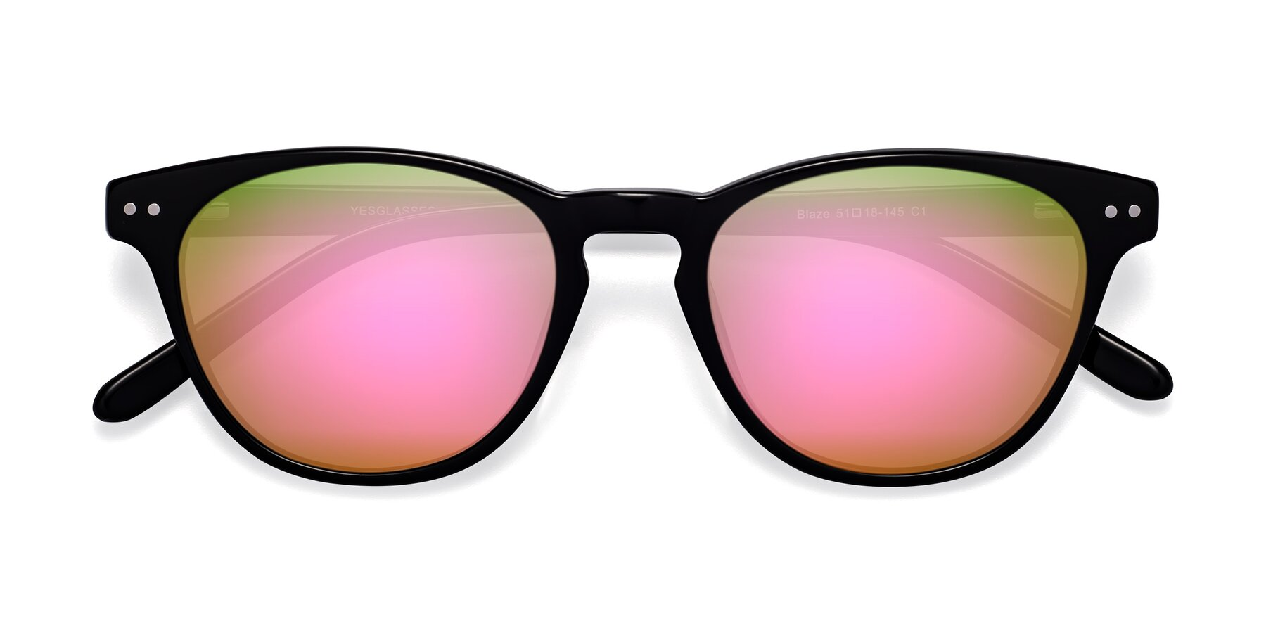 Folded Front of Blaze in Black with Pink Mirrored Lenses