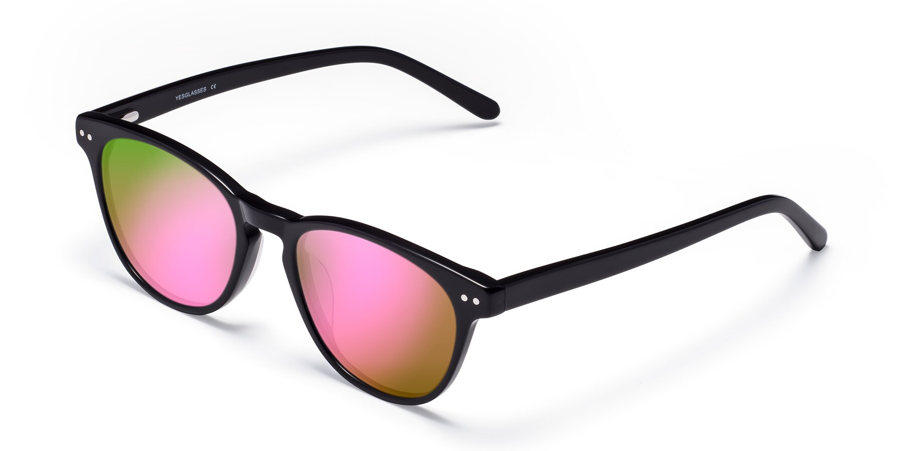 Angle of Blaze in Black with Pink Mirrored Lenses
