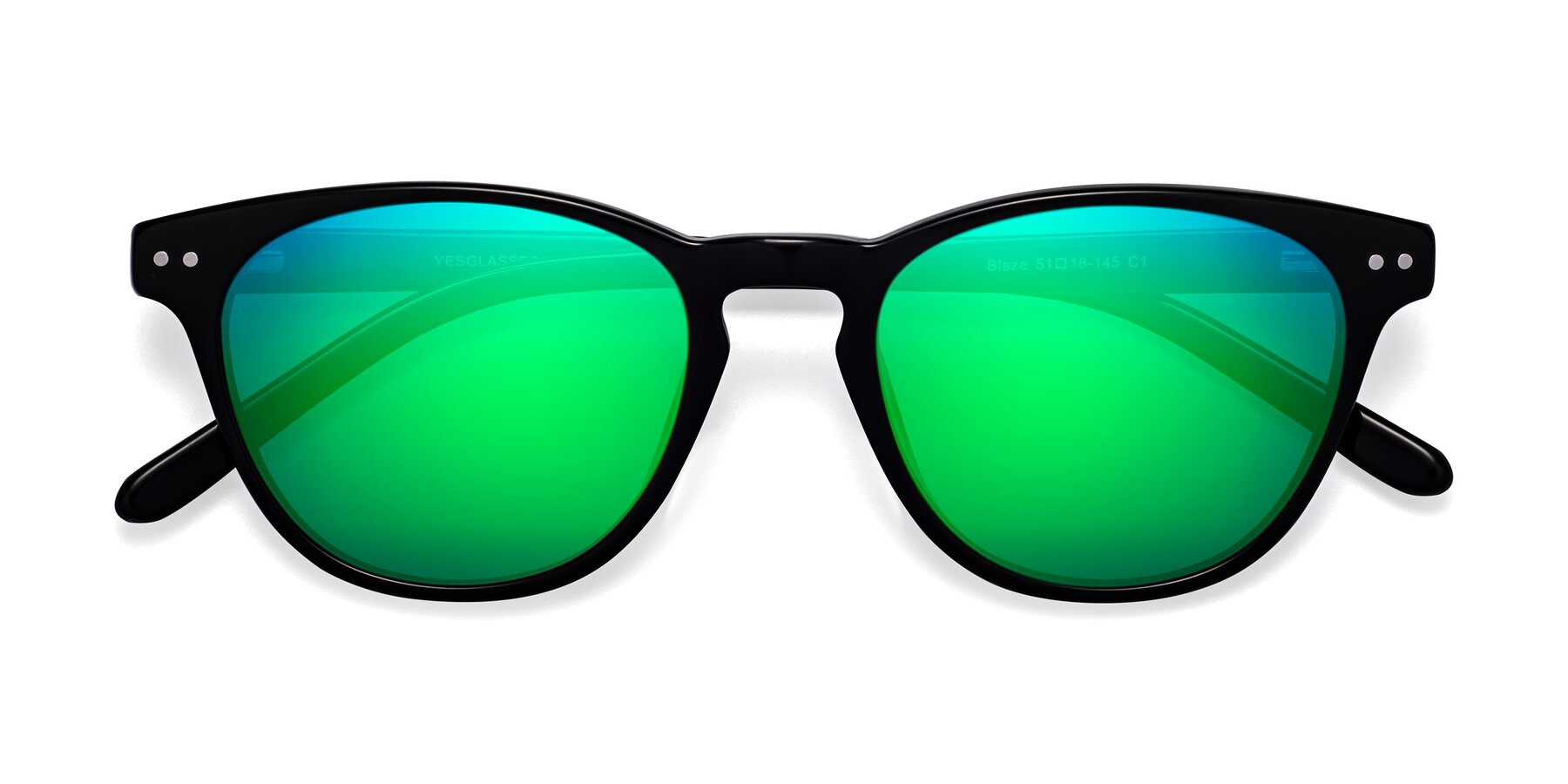Folded Front of Blaze in Black with Green Mirrored Lenses