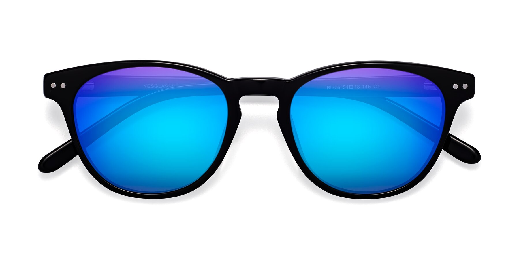 Folded Front of Blaze in Black with Blue Mirrored Lenses