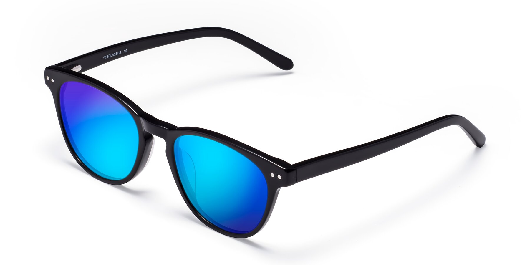 Angle of Blaze in Black with Blue Mirrored Lenses