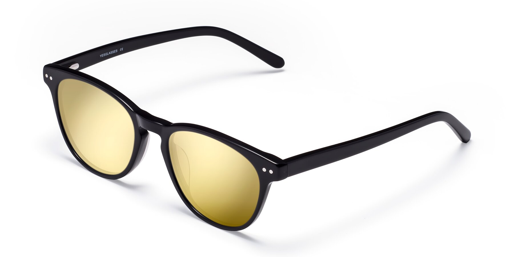 Angle of Blaze in Black with Gold Mirrored Lenses