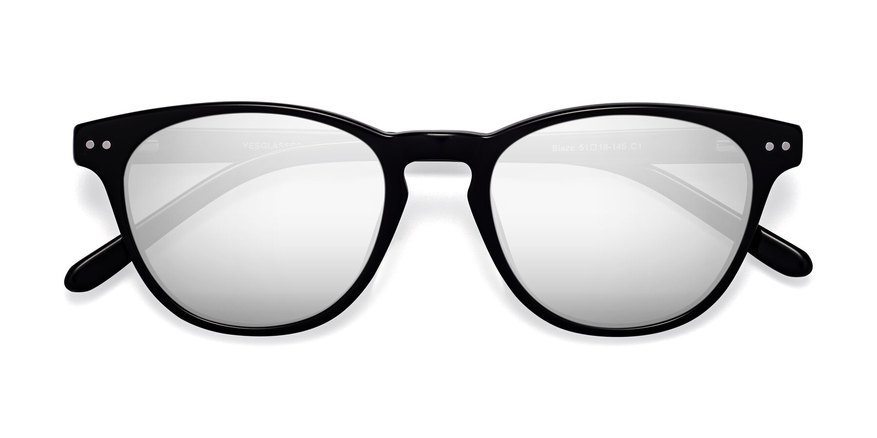 Folded Front of Blaze in Black with Silver Mirrored Lenses