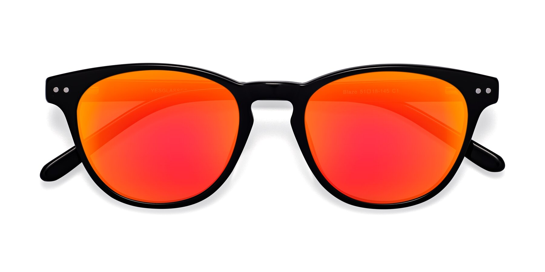 Folded Front of Blaze in Black with Red Gold Mirrored Lenses