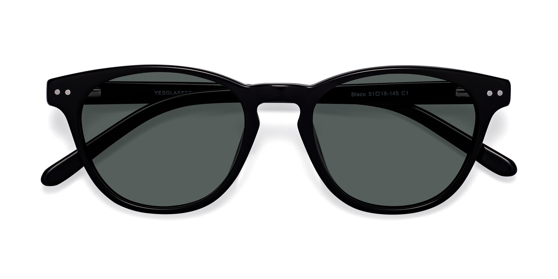 Folded Front of Blaze in Black with Gray Polarized Lenses