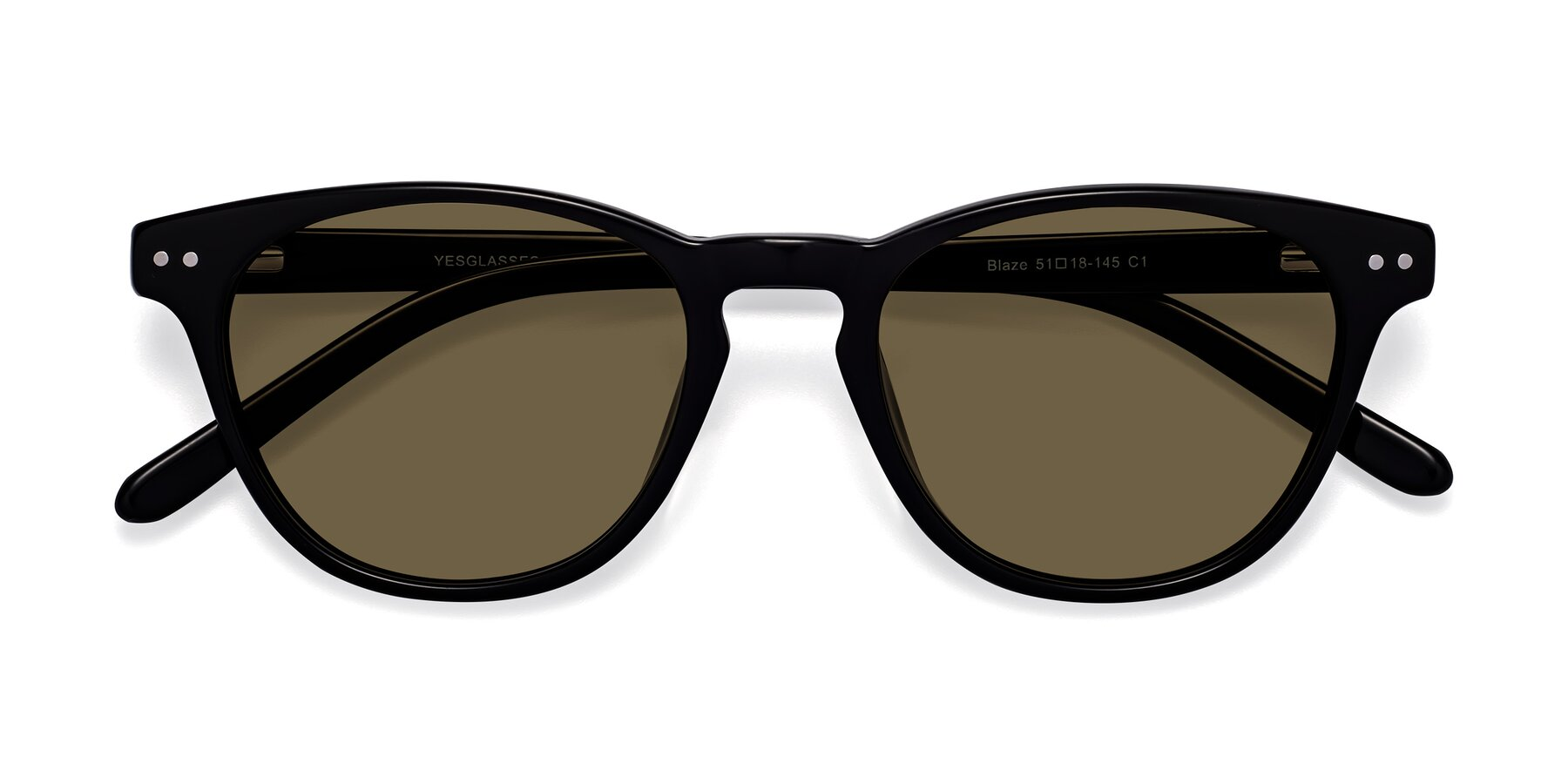 Folded Front of Blaze in Black with Brown Polarized Lenses