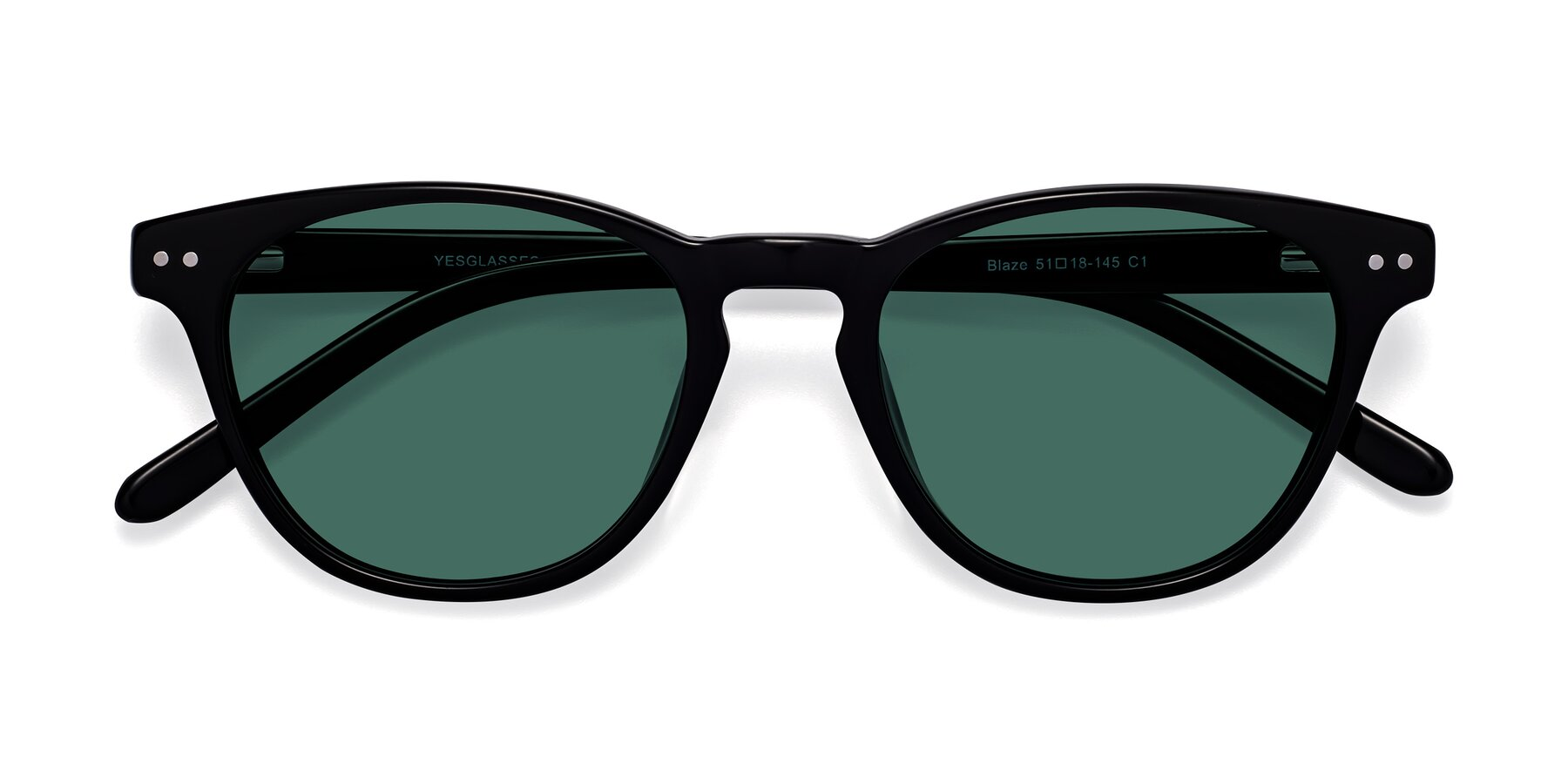 Folded Front of Blaze in Black with Green Polarized Lenses