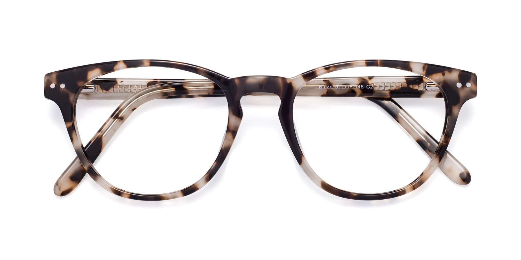 Folded Front of Blaze in Tortoise with Clear Eyeglass Lenses