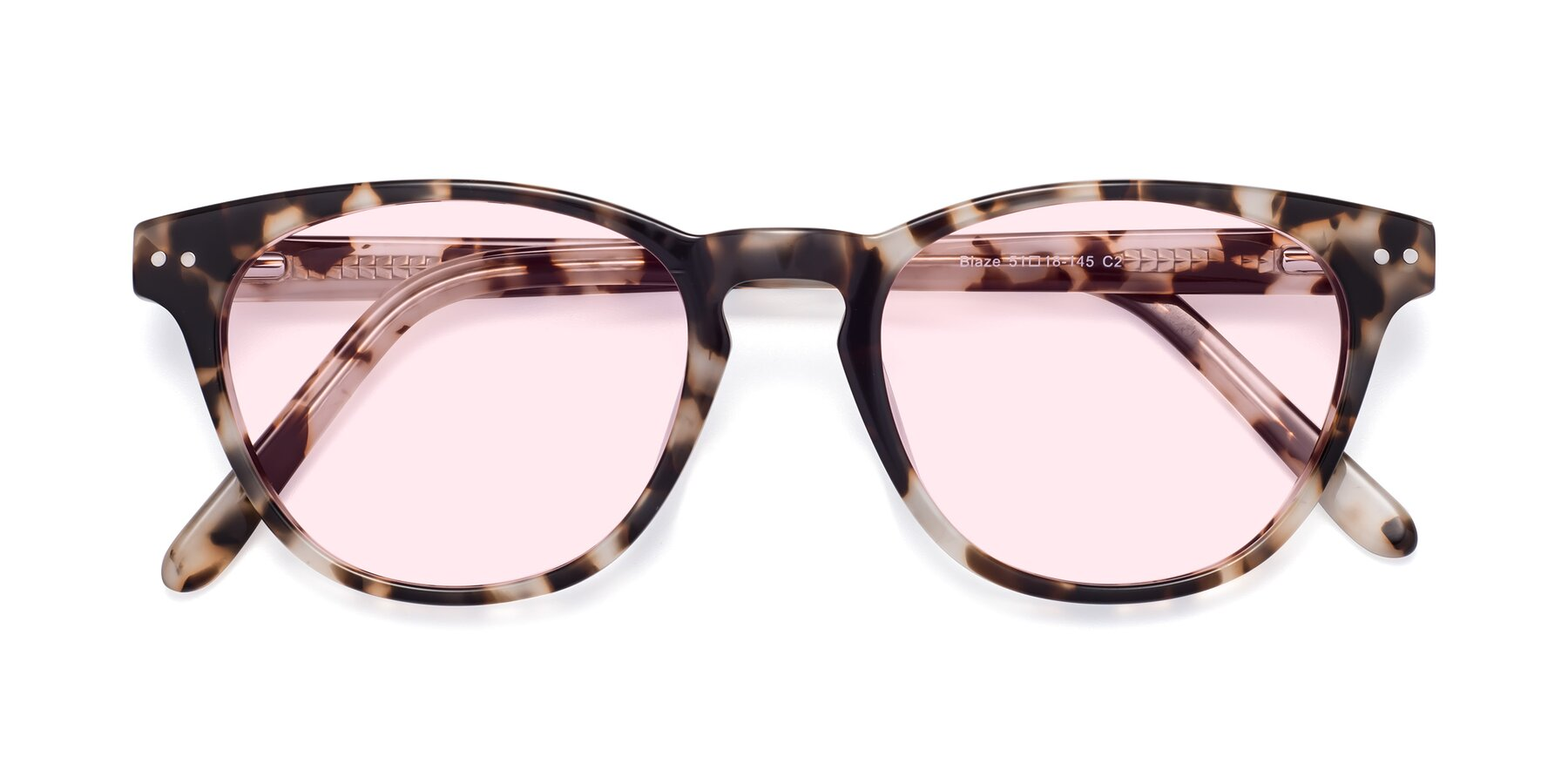 Folded Front of Blaze in Tortoise with Light Pink Tinted Lenses